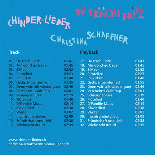 Christina Schaffner, Chinder-Lieder, CD Rückseite